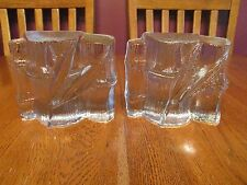 Pair Vintage Blenko Clear Textured Heavy Art Glass Bamboo Bookends