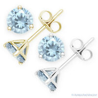 Faux Aquamarine Round Cut CZ Crystal .925 Sterling Silver Martini Stud Earrings