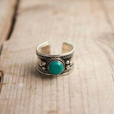 Anillo ajustable Turquesa plata Tibetana anillo unisex boho anillo tibetano
