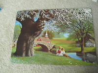 Vintage 1968 Litho Print Paul Detlefren Boy and Girl by Creek and Church