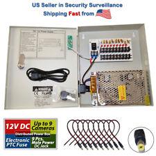 8 CH Channel Power Supply Box CCTV Camera 9 Port 12V + Free 10 Pigtail Dc Jack