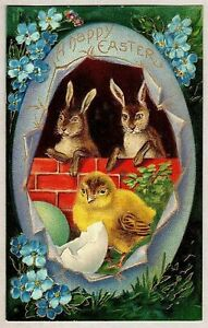 Bunny Rabbits with Chick & Flowers Antique Vintage Easter Postcard~c852