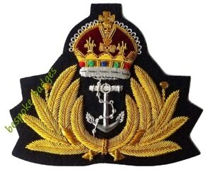 Badge Naval Kings Crown Gold Wire Royal Navy Cap Badge WW2 Style WWII Brand New