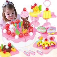 1Set DIY pretend play fruit cutting birthday cake kitchen toy for children gi_gu