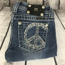 Miss Me Embellished Boot Cut Stretch Distressed Med. Blue Womens Jeans 26 26x33