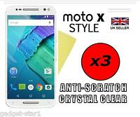 3x HQ CRYSTAL CLEAR SCREEN PROTECTOR COVER GUARD FOR MOTOROLA MOTO X STYLE 2015