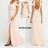 EX HIGH STREET Cold Shoulder Ruched Maxi Dress Sizes 10, 12, 14, 16, 18, 20