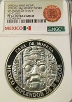 1992 MEXICO 34G SILVER MEDAL SPLENDOR OF THIRTY CENTURIES NGC PF 66 ULTRA CAMEO