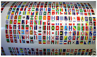242 Autocollants Stickers Pays Îles & Territoires du monde 10x15mm Vinyle
