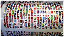 242 Autocollants différents Les Pays Îles & Territoires du monde 10x15mm Vinyle