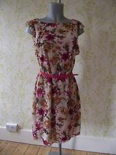 *BNWT* ESPRIT floral print summer dress, pink double belt, size L UK14, RRP £59!