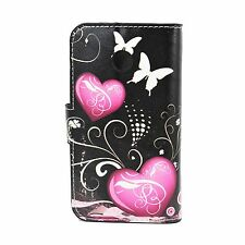 Purple Heart Flip Leather Stand TPU Wallet Phone Cover Case For Motorola Moto E