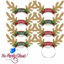8 SANTAS REINDEER ANTLER HEADBANDS Christmas Office Party Fun Card Antlers Hats
