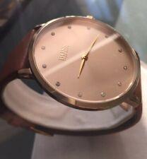 Ladies Genuine Hugo Boss Jillian Ultra Slim Designer Watch Gold Leather 1502411