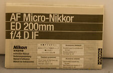 Micro-Nikkor AF 200mm 4 D IF Instru Instruction Manual Very good condition