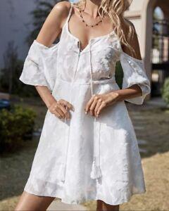 Sommer Kleid Tunika Off Shoulder Hippie Boho Hängerchen 36 38 Weiß R477