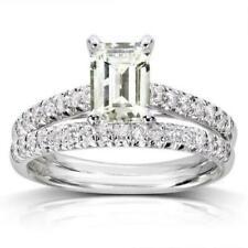 2.17Ct Emerald Cut Diamond Bridal Set Engagement Ring Band 18K White Gold Finish