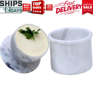 Butter Dish Cover Pot Handmade Marble French Butter Storage Crock Keeper for - -