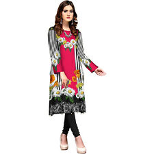 Women Indian Dress Pakistani Kurta Kurti Soft Khaddar Digital Print Tunic Top