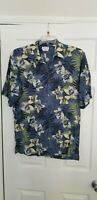 IZOD Mens Hawaiian Shirt  large washable silk blue floral