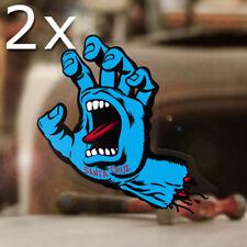 2x Stück Santa Cruz Screaming Hand Sticker Skate Old School Aufkleber blau 14cm