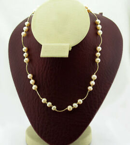 GENUINE PEARLS NECKLACE 14K YELLOW GOLD ** NEW WITH TAG ** Free Shipping