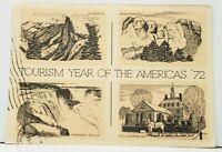 Tourism Year Of America '72 Yosemite Rushmore N. Falls Williamsburg Postcard F11