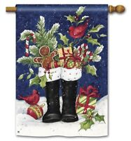 "New Christmas Boots Yard Flags 28"" x 40"" Breeze Art Solar Silk Polyester"