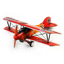 Handmade 1917 Red Germany Albatros Fighter Plane 1:30 Antique Style Metal Model