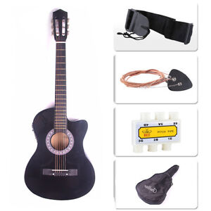 "38"" Acoustic Guitar Bundle Instrument Design With Guitar Case, Strap  Black New"