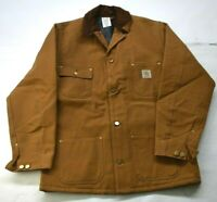 Vintage NOS Carhartt Mens Rugged Brown Duck Lined Button Front Jacket 6BLCT 42T