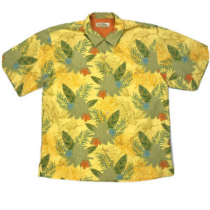Tommy Bahama Mens Shirt Silk Short Sleeve Button Up Hawaiian Palms Tree Large
