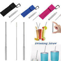 Reusable Telescopic Metal Drinking Straw Kit With Telescopic Brush With PC Bag