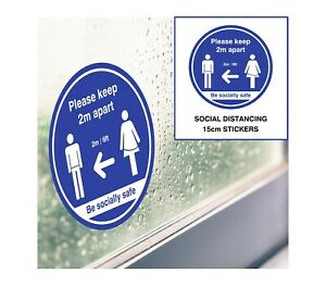 Social Distancing Stickers D2 - Blue 15cm - Window, Door & Wall Decals Shop