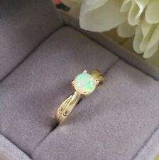 Vintage Jewellery Yellow Gold Mod Ring with Opal Retro Modernist Jewelry Ring