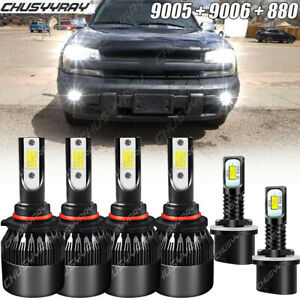 For Chevy Trailblazer 2002-2008 2009 Combo 9005 9006 880 LED Headlight Fog Bulbs