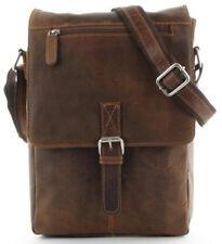 Bucaddi Vintage Echt Leder Überschlagtasche Umhängetasche mit Klickverschluss