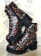 Jeffrey Campbell Combat Boot Platform Black Floral Leather Lace Lug Sole 6 NIB