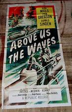 Above Us the Waves 3sh Movie Poster WWII John Mills TIRPITZ British Submarine 56