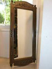 """Vintage Homco Syroco Wall Hanging Mirror 22"""" Tall Carved Flower Wood Look"""