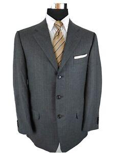 Ermenegildo Zegna Charcoal Gray Wool Suit Jacket Blazer Men 42R Tan Chalk Stripe