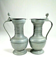 Vintage Pewter Pitchers with Handle Acorn Thumb Lift Collectible Pair of 2