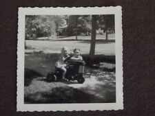 YOUNG GIRLS WITH TOY PEDAL TRACTOR Vintage 1960's PHOTO