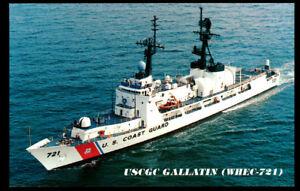 USCGC Gallatin WHEC-721 postcard  US Coast Guard High Endurance Cutter