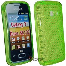 Cover Custodia Per Samsung Galaxy Y Duos S6102 Silicone Gel Verde Diamond