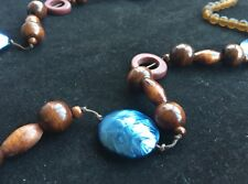 BOHO / LAGENLOOK QUIRKY BROWN & BLUE LONGLINE STATEMENT NECKLACE