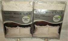 Nip Lot Of 2 Vintage Standard Pillow Shams Handmade Lace Battenburg 59757 White