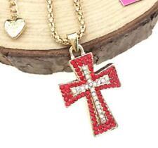 Charm Pendant Betsey Johnson Jewelry Hot Women Chain Cross Rhinestone Necklace