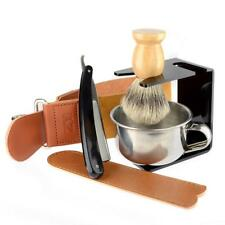 Men Luxury Shaving Leather Kit Soap Bowl Straight Razor Beard Hair Shaving Brush