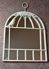 Cream / Ivory White Birdcage Metal and Glass Wall Mirror on Hanger Handle Birds